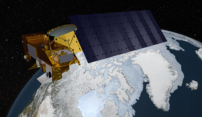 Aqua spacecraft with sea ice image