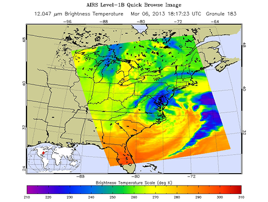 Sample AIRS Level-1B Browse Image, depicting a U.S. East Coast severe storm