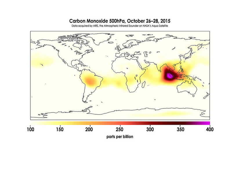 Carbon Monoxide in the Mid-Troposphere over Indonesia Fires, October 26-28, 2015