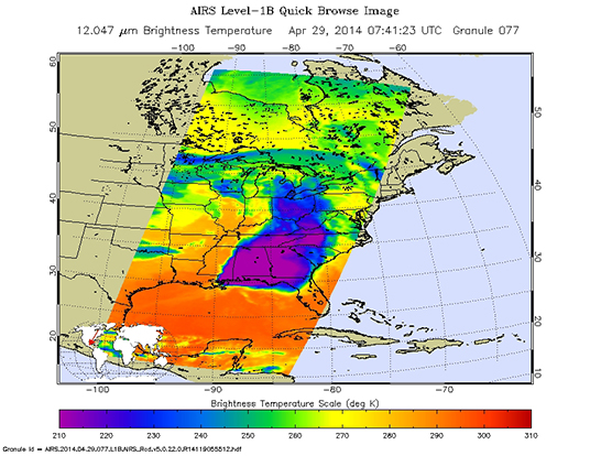 Sample AIRS Level-1B Browse Image, depicting a severe weather outbreak